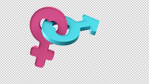 Женские и мужские символы в 3d-рендеринге