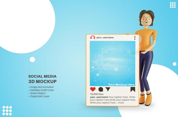 Женский персонаж, держащий приложения instagram, пост в социальных сетях, 3d-рендеринг мультфильма