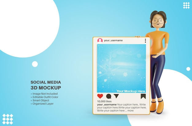 Instagram 앱 소셜 미디어 게시물 3d 만화 렌더링 모형을 들고 여성 캐릭터