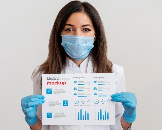 Женщина-врач показывает инфографику вакцины