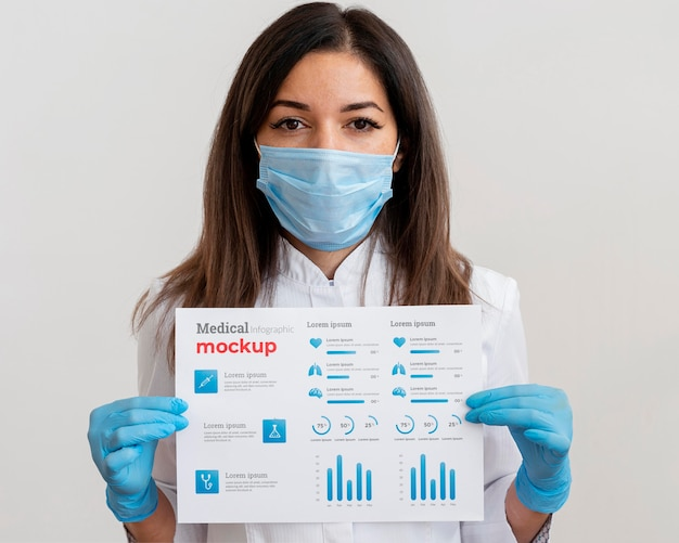 Female doctor showing a vaccine infographic