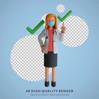 올바른 선택 아이콘 3d 캐릭터 일러스트와 함께 마스크를 쓴 여의사