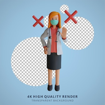 Female doctor wearing a mask with wrong choice or prohibition 3d character illustration