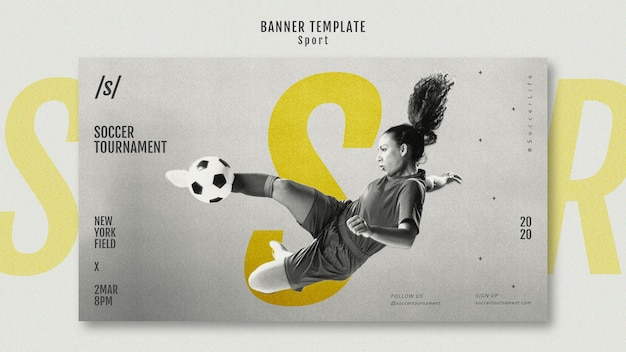Female football player banner template