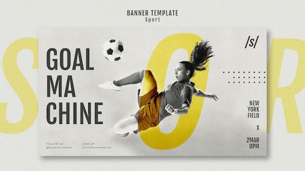 Female football player banner