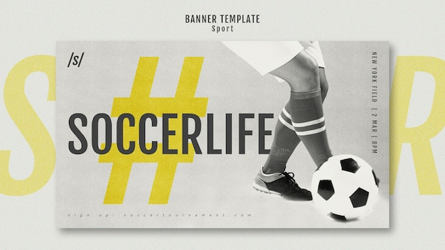 Female football player modern banner template