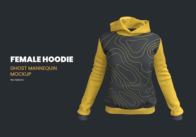 Female hoodie ghost mannequin mockup