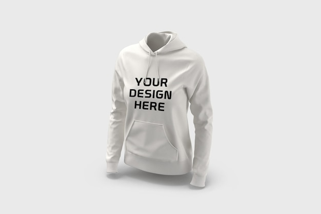 Female hoodie mockup design isolated