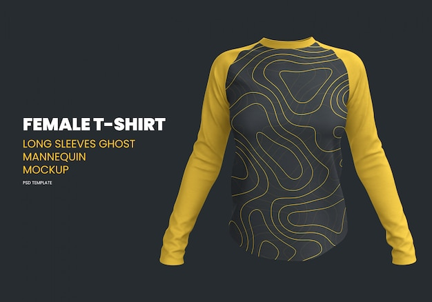 Female long sleeves t-shirt ghost mannequin mockup