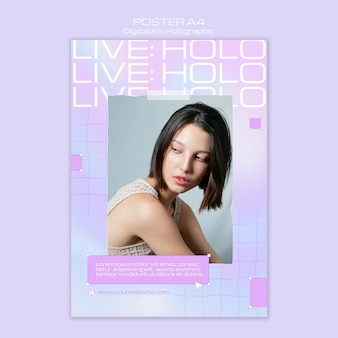 Female model digitalism holographic flyer template