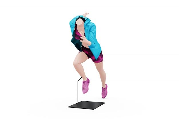고립 된 여성 스포츠 복장 모형