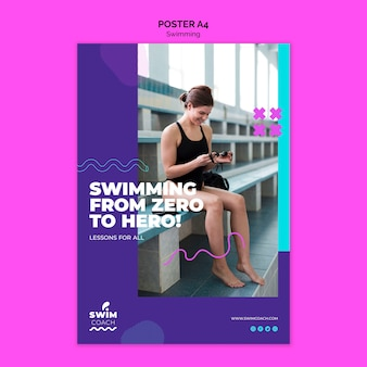 Female swimmer poster template