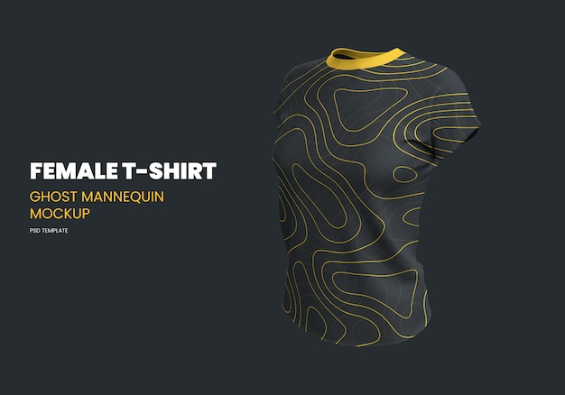 Female t-shirt ghost mannequin mockup