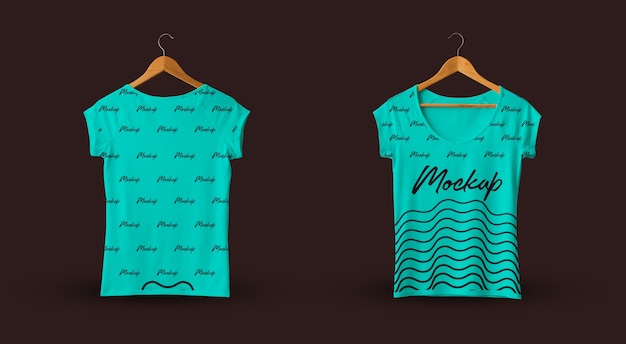 Female t-shirt mockup teal dark background