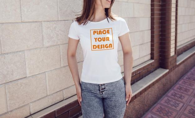 여성 흰색 티셔츠 이랑