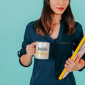 Female  with mug