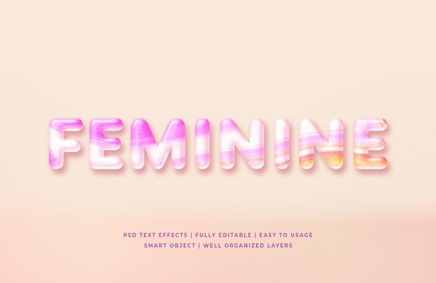 Feminine 3d text style