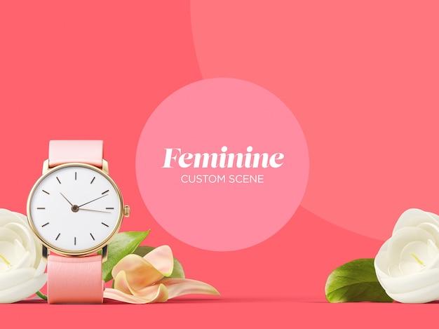 Feminine custom scene mockup