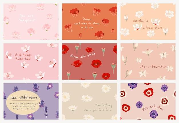 花のイラストセットでフェミニンな花のバナーテンプレートpsd