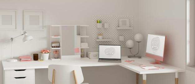 Женское рабочее пространство с компьютером, ноутбуком, канцелярскими принадлежностями и украшениями 3d-рендеринга