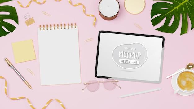 Feminine workspace with digital tablet mockup