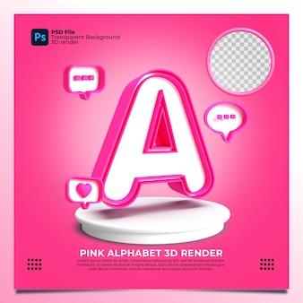 핑크 색상과 요소가 있는 페미니즘 알파벳 a 3d 렌더링