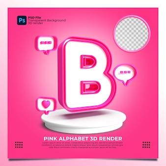 핑크 색상 및 요소와 페미니즘 알파벳 b 3d 렌더링