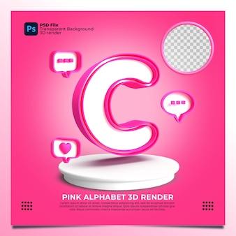 핑크 색상과 요소가 있는 페미니즘 알파벳 c 3d 렌더링