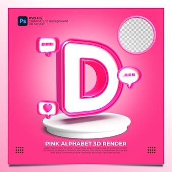 핑크 색상과 요소가 있는 페미니즘 알파벳 d 3d 렌더링