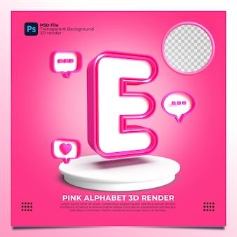핑크 색상 및 요소와 페미니즘 알파벳 e 3d 렌더링