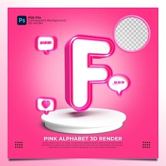 핑크 색상 및 요소와 페미니즘 알파벳 f 3d 렌더링