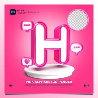 핑크 색상과 요소가 있는 페미니즘 알파벳 h 3d 렌더링