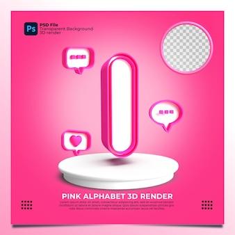 핑크 색상과 요소가 있는 페미니즘 알파벳 i 3d 렌더링