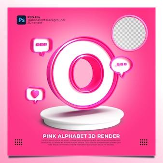 핑크 색상 및 요소와 페미니즘 알파벳 o 3d 렌더링