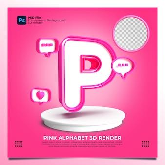 핑크 색상 및 요소와 페미니즘 알파벳 p 3d 렌더링