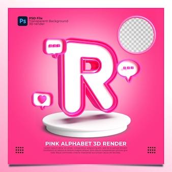 핑크 색상과 요소가 있는 페미니즘 알파벳 r 3d 렌더링