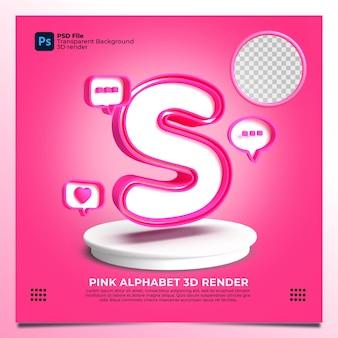 핑크 색상 및 요소와 페미니즘 알파벳 s 3d 렌더링