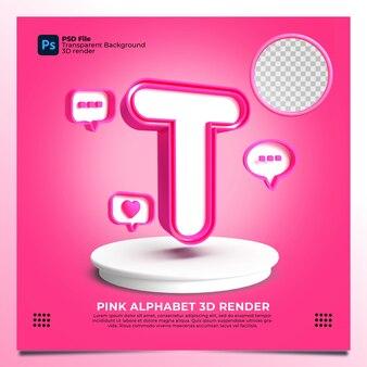 핑크 색상과 요소가 있는 페미니즘 알파벳 t 3d 렌더링