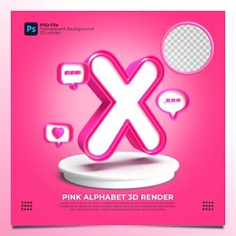핑크 색상과 요소가 있는 페미니즘 알파벳 x 3d 렌더링