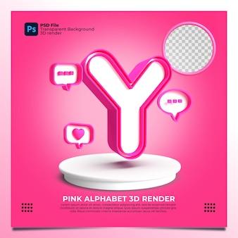 핑크 색상 및 요소와 페미니즘 알파벳 y 3d 렌더링