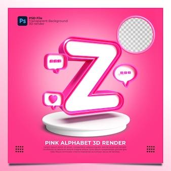 핑크 색상과 요소가 있는 페미니즘 알파벳 z 3d 렌더링