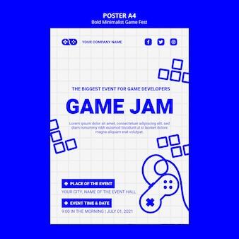 Жирный минималистский шаблон игры fest fest poster