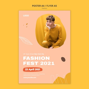 Fest male fashion poster template