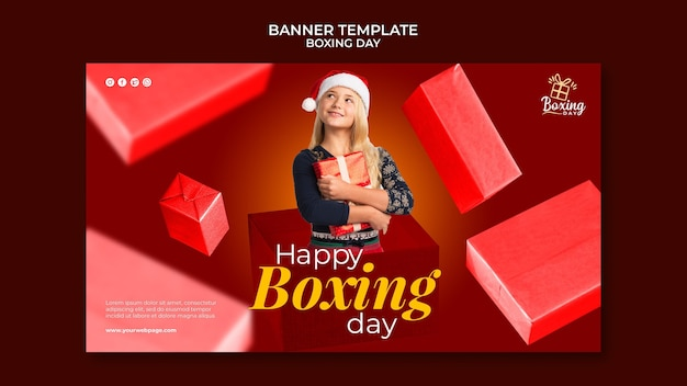 Festive boxing day horizontal banner template