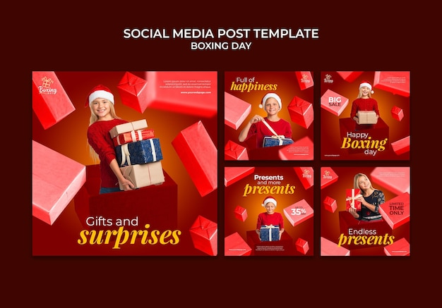 Festive boxing day social media posts collection