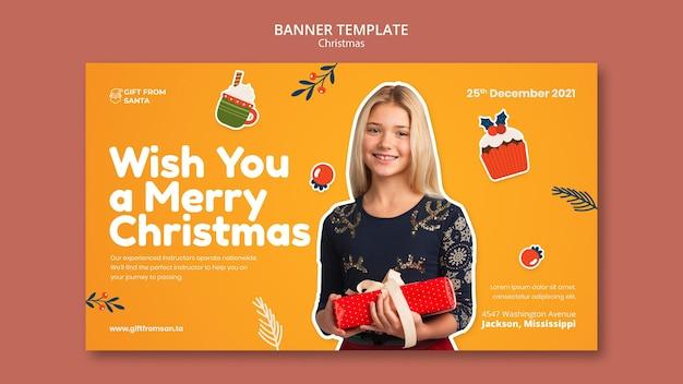 Festive christmas horizontal banner template