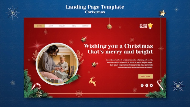 お祝いのクリスマスランディングページテンプレート