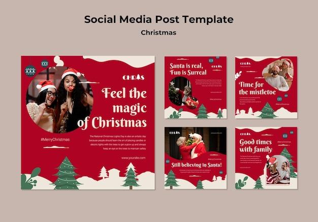 お祝いのクリスマスソーシャルメディアの投稿