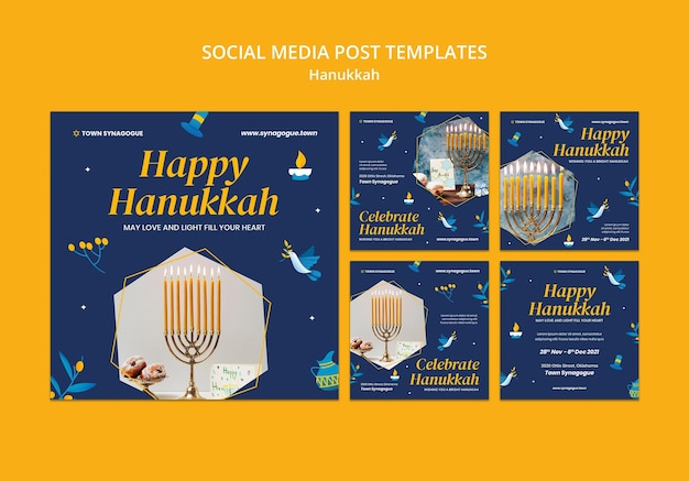 Raccolta festiva di post sui social media di hanukkah