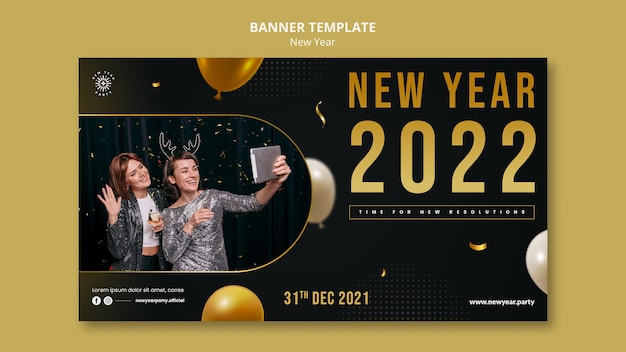 Festive new year eve horizontal banner template